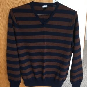 J. Crew. Men's Merino V-neck Stripe Sweater. M